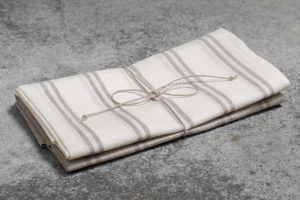 Set of linen kitchen towels white - grey striped. Manufacturer: AB Siulas