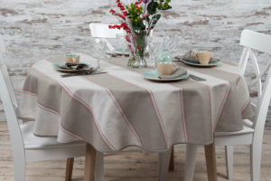 Linen round tablecloth grey red stripes. Manufacturer: AB Siulas