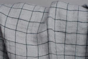 Washed soft 100%linen fabric grey color checked. Manufacturer: AB Siulas, Lithuania, Europe