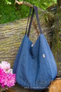 Double sided linen bag blue grey - LinenFashion by Siulas. Made in Lithunia.