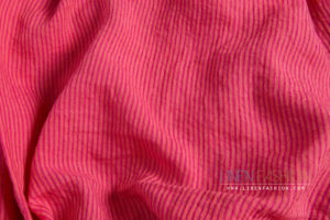 Pink striped linen fabric washed - Linen Fashion by Siulas