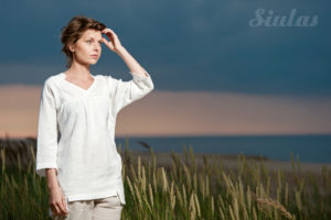 Linen clothes. White linen blouse. Made by AB Siulas, Lithuania.