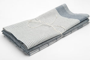 "Set of three grey linen kitchen towels: stripped, checked, solid color. Manufacturer: AB ""Siulas"""