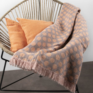 "Grey - orange dotted jacquard linen blanket. Manufacturer: AB ""Siulas"""