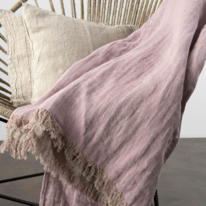 "Lilac & grey double sided linen blanket with fringes. Producer: AB ""Siulas"", Lithuania"