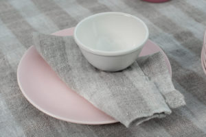 Grey striped linen table napkin, washed, soft. Manufacturer: AB 'Siulas'