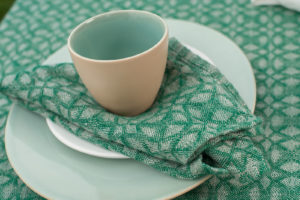 Grey green linen table napkin, washed, soft. Manufacturer: AB 'Siulas'. Produced in Europe.