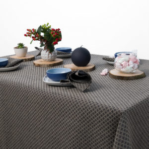 Dark grey linen tablecloth diamond patterned. Manufacturer: AB 'Siulas'. Produced in Lithuania