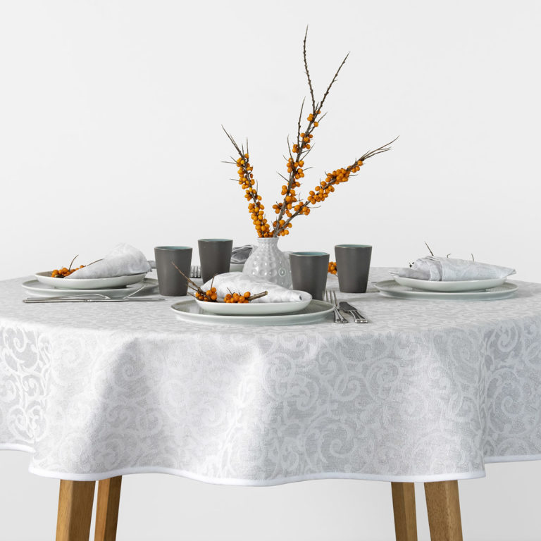Round linen tablecloth in grey white color jacquard. Manufacturer: AB 'Siulas'