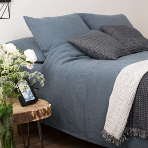 Bluish Grey Washed Bed Linen. Consist of duvet cover, pillowcase and a bed sheet. Produced in Europe.