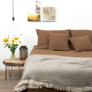 "Linen - cotton bedding in brown color: bed sheet, duvet cover and pillowcase. Manufacturer: AB ""Siulas"""