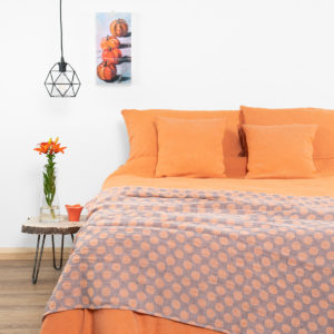 Orange linen bedding. Linen duvet cover, pillowcase and a bed sheet. Produced in Europe.""