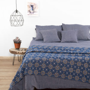 Linen bedding in blue grey color. Manufacturer: AB 'Siulas', Lithuania