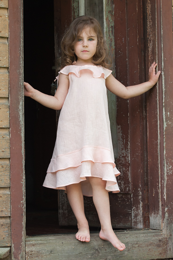 "Light rouse linen dress for girl. Manufacturer: AB ""Siulas"""