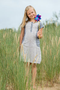 "Linen dress for girl, blue - white stripped. Manufacturer: AB ""Siulas"""