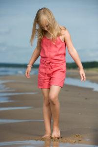 "Pink linen girl's playsuit. Manufacturer: AB ""Siulas"""