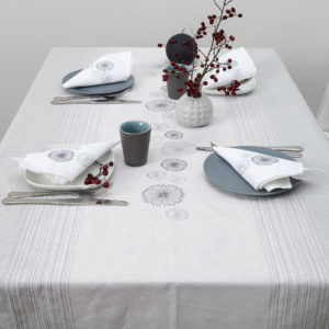 Linen tablecloth light grey with embroidery and stripes. Manufacturer: AB 'Siulas'