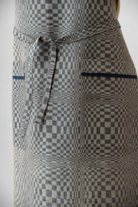"Blue - grey linen kitchen apron in checked pattern, with pockets. Manufacturer: AB ""Siulas"", Lithuania"