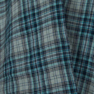 Soft linen fabric in bluish green checks. Produced by AB Siulas, Lithuania