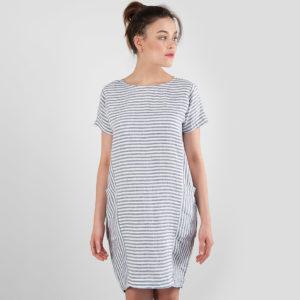 "Linen dress in blue - white stripes, short. Manufacturer: AB ""Siulas"""