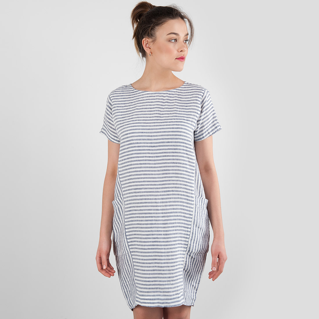 "Linen dress in blue - white stripes, short. Manufacturer: AB ""Siulas"""