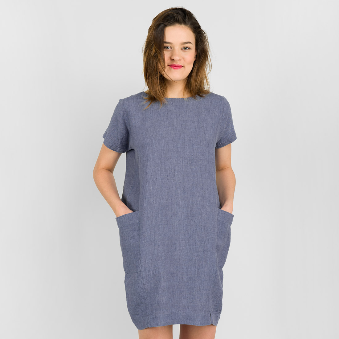 "Short blue linen dress, short sleeves. Manufacturer: AB ""Siulas"""