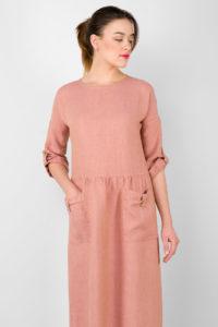 "Long pink linen dress. Manufacturer: AB ""Siulas"""