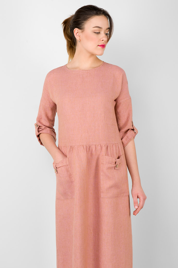 "Long pink linen dress. Manufacturer: AB ""Siulas"""