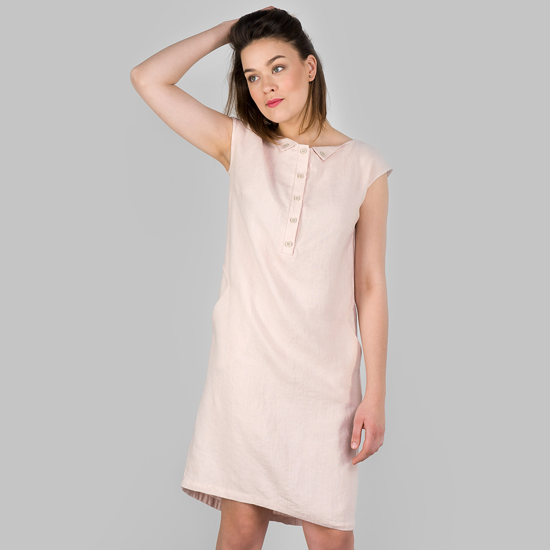 "Linen dress in light rose color, short, with buttons. Manufacturer: AB ""Siulas"". Produced in Lithuania"