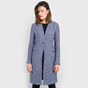 Long linen jacket for women, blue patterned. Produced by AB Siulas, Lithuania