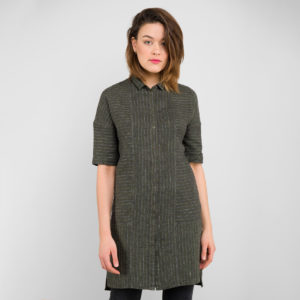 """Linen Dark Green Striped Tunic. Buttons at the front. Manufacturer: AB """"Siulas"""""""