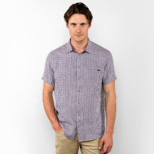 Linen shirt for men, short sleeves with bordo white squares. Produced in Lithuania.